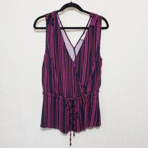 Faux Wrap*Tie Front Striped Tank*NWT*Bow Accents*